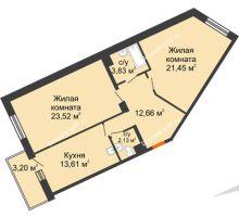 2 комнатная квартира 77,28 м² в ЖК Новый Академгородок, дом № 2 - планировка