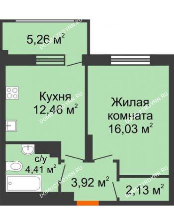 1 комнатная квартира 40,53 м² в ЖК Маленькая страна, дом № 4