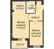 2 комнатная квартира 48,4 м² в ЖК Соловьиная роща, дом № 1 - планировка