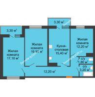 3 комнатная квартира 81,45 м² в ЖК SkyPark (Скайпарк), дом Литер 2 - планировка
