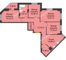 4 комнатная квартира 96,16 м² в ЖК Кристалл, дом Литер 1 - планировка