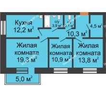 1 комнатная квартира 44,1 м², Жилой дом по ул. Львовская, 33а - планировка