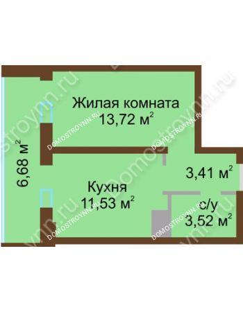 1 комнатная квартира 38,86 м² в ЖК Красная поляна, дом № 8
