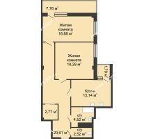 2 комнатная квартира 79,7 м² в  ЖК РИИЖТский Уют, дом Секция 1-2 - планировка