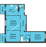 3 комнатная квартира 114,5 м², ЖК Нахичевань - планировка