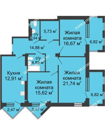 3 комнатная квартира 110,43 м² - ЖК С видом на Небо!