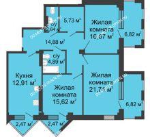 3 комнатная квартира 110,43 м², ЖК С видом на Небо! - планировка