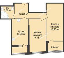 2 комнатная квартира 82,36 м², ЖК Адмирал - планировка