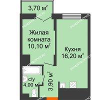 1 комнатная квартира 36,05 м² в ЖК КМ Анкудиновский парк, дом № 16 - планировка