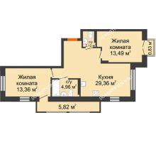 2 комнатная квартира 65,28 м², ЖК Шаляпин - планировка