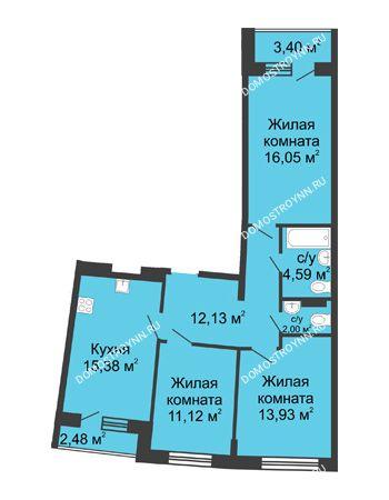 3 комнатная квартира 77,97 м² в ЖК Ватсон, дом № 5