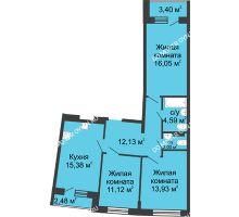 3 комнатная квартира 78,14 м² в ЖК Ватсон, дом № 4 - планировка