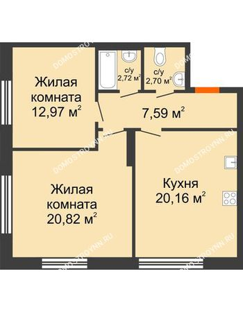 2 комнатная квартира 66,96 м² в ЖК Маленькая страна, дом № 4