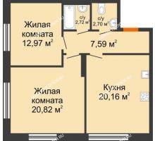 2 комнатная квартира 66,96 м² в ЖК Маленькая страна, дом № 4 - планировка