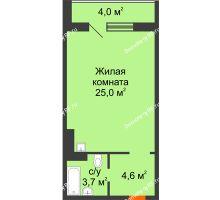 Студия 35,3 м² в ЖК Апрелевка, дом № 2, строение 1 - планировка