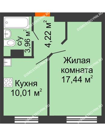 1 комнатная квартира 35,63 м² - ЖК Зеленый берег Life