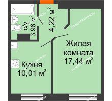 1 комнатная квартира 35,63 м², ЖК Зеленый берег Life - планировка