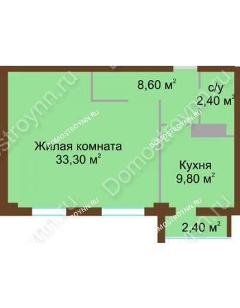 1 комнатная квартира 55,3 м² - ЖК Северный Дворик