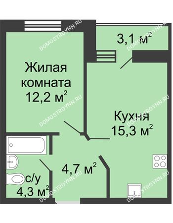 1 комнатная квартира 38,05 м² в ЖК Цветы, дом № 10