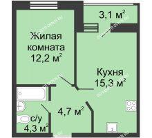 1 комнатная квартира 38,05 м² в ЖК Цветы, дом № 10 - планировка