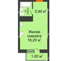 Студия 26,7 м², ЖК Клубный дом на Мечникова - планировка