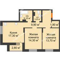 2 комнатная квартира 68,2 м² в ЖК Подкова на Цветочной, дом № 9 - планировка