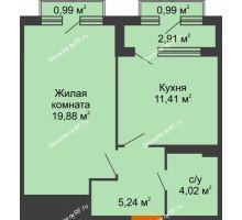 1 комнатная квартира 42,61 м², ЖК Гран-При - планировка