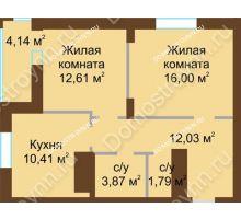 2 комнатная квартира 60,85 м² в ЖК Подкова на Панина, дом № 7, корп. 6 - планировка