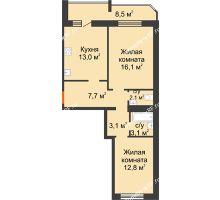 2 комнатная квартира 66,4 м² в ЖК Острова, дом 4 этап (второе пятно застройки) - планировка