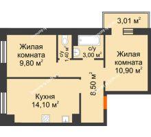 2 комнатная квартира 48,8 м² в Микрорайон Прибрежный, дом № 8 - планировка