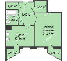 1 комнатная квартира 53,75 м² - ЖК Сергиевская Слобода