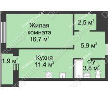 1 комнатная квартира 42,2 м² - ЖК Дом на Иванова