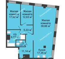 3 комнатная квартира 116,31 м², ЖК Гранд Панорама - планировка