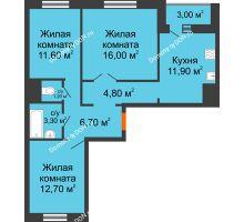 3 комнатная квартира 69,7 м² в ЖК Левенцовка парк, дом Корпус 8-5 - планировка