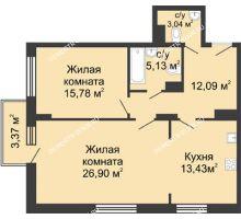 2 комнатная квартира 76,37 м² в ЖК Высоково, дом № 3 - планировка