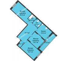 3 комнатная квартира 107,7 м² в ЖК Монолит, дом № 89, корп. 3 - планировка