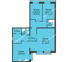 3 комнатная квартира 121,1 м², Жилой дом: г. Дзержинск, ул. Кирова, д.12 - планировка