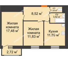 2 комнатная квартира 57,64 м² в ЖК Книги, дом № 2 - планировка