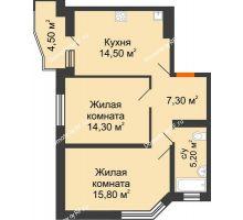 2 комнатная квартира 59,4 м² в ЖК Перспектива, дом Литер 3.5 - планировка