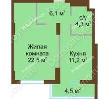 1 комнатная квартира 48,6 м² - ЖК Подкова Сормовская