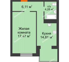 1 комнатная квартира 42,67 м², ЖК Зеленый квартал 2 - планировка