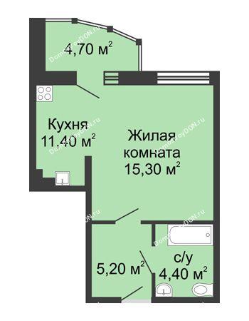 1 комнатная квартира 41 м² в ЖК Мега, дом № 2