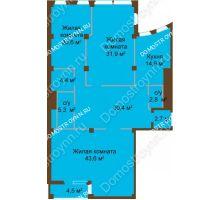 3 комнатная квартира 158,8 м², ЖК Бояр Палас - планировка