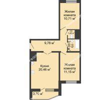 2 комнатная квартира 58,15 м² в ЖК Французский квартал, дом Корпус 6-11