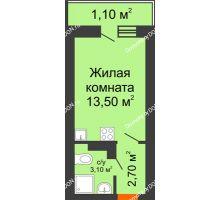 Студия 20,4 м² в ЖК SkyPark (Скайпарк), дом Литер 1, корпус 1, блок-секция 2-3 - планировка