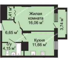 1 комнатная квартира 41,8 м², ЖК Гелиос - планировка