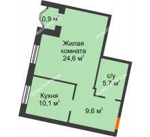 1 комнатная квартира 50,9 м², Жилой дом: ул. Варварская - планировка