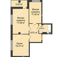 2 комнатная квартира 60,2 м², ЖК Дом на 14-й Линии - планировка