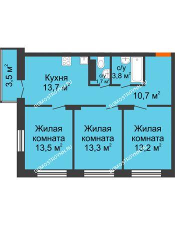 3 комнатная квартира 70,95 м² в ЖК Заречье, дом №1, секция 2