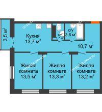 3 комнатная квартира 70,95 м² в ЖК Заречье, дом № 1 - планировка